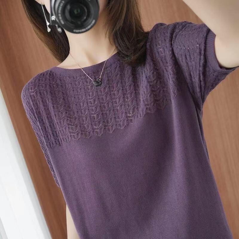 镂空针织衫 2021春季女士新款低领套头毛衣圆领宽松薄款短款打底衫针织衫镂空_推荐淘宝好看的镂空针织衫