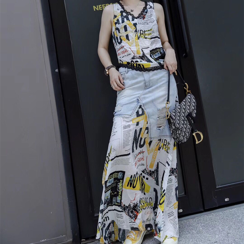 雪纺半身裙搭配 2021夏季新款雪纺印花T桖衫牛仔破洞不规则拼接半身裙两件套装_推荐淘宝好看的雪纺半身裙