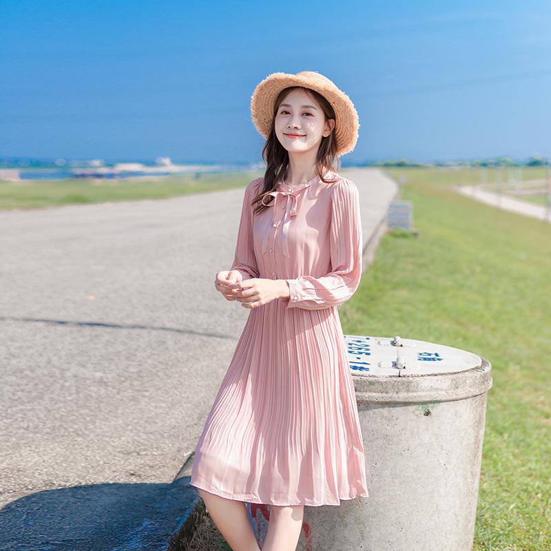 粉红色连衣裙 2020春款女装长袖雪纺百褶裙初恋法式桔梗裙粉色连衣裙中长款裙子_推荐淘宝好看的粉红色连衣裙