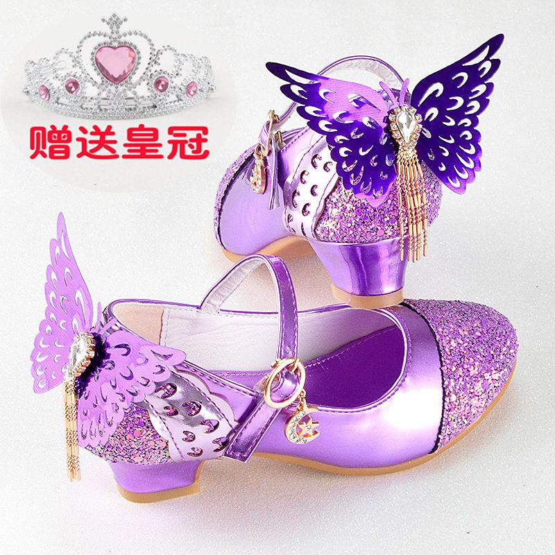紫色高跟鞋 女童皮鞋2019秋季新款韩版小高跟公主鞋儿童水晶鞋带翅膀紫色单鞋_推荐淘宝好看的紫色高跟鞋