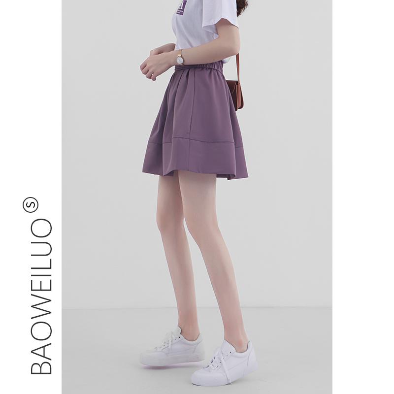 紫色半身裙 紫色半身裙女短裙2020夏季新款高腰显瘦A字百褶裙学院风蓬蓬伞裙_推荐淘宝好看的紫色半身裙