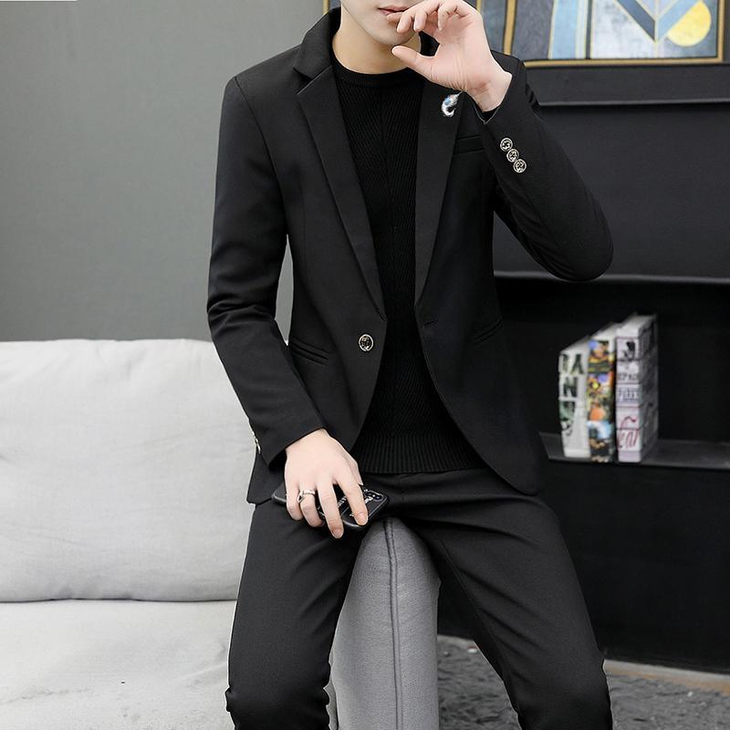 男士修身西装 西服套装春秋韩版修身帅气西装外套发型师休闲潮流男士小西装一套_推荐淘宝好看的男修身西装