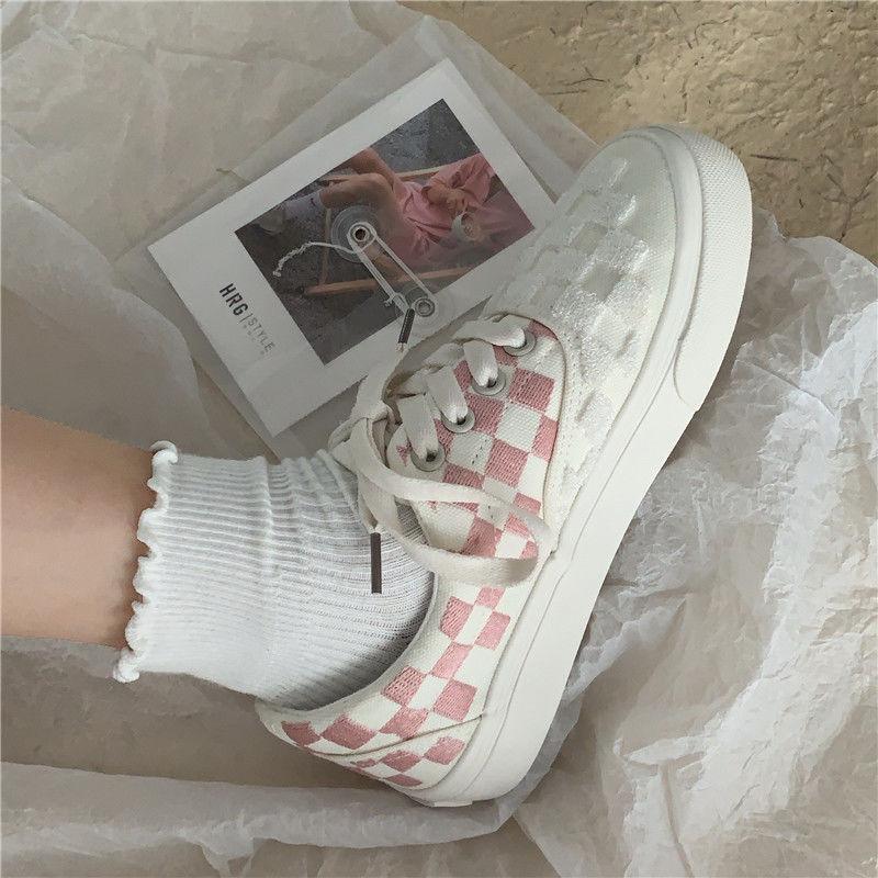 粉红色帆布鞋 粉红色少女心可爱格子帆布鞋子女韩版街拍网红百搭ins_推荐淘宝好看的粉红色帆布鞋