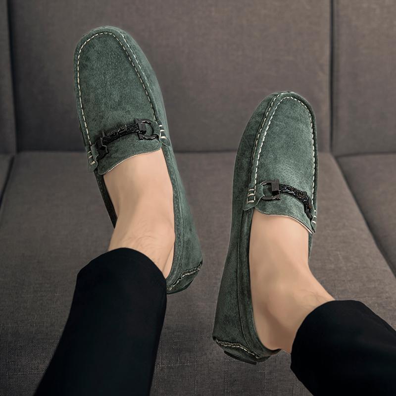 绿色豆豆鞋 欧赤豆豆鞋男秋季绿色真皮社会快手红人潮鞋2021年新款磨砂休闲鞋_推荐淘宝好看的绿色豆豆鞋