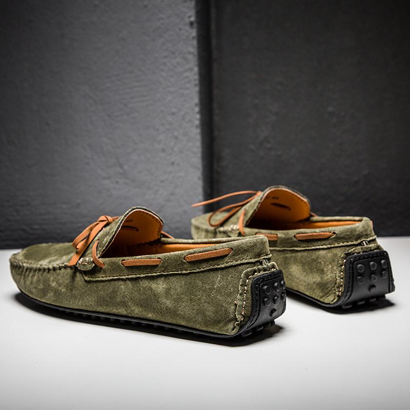 绿色豆豆鞋 男士休闲鞋绿色秋季透气2021年新款真皮社会精神小伙翻毛豆豆鞋男_推荐淘宝好看的绿色豆豆鞋