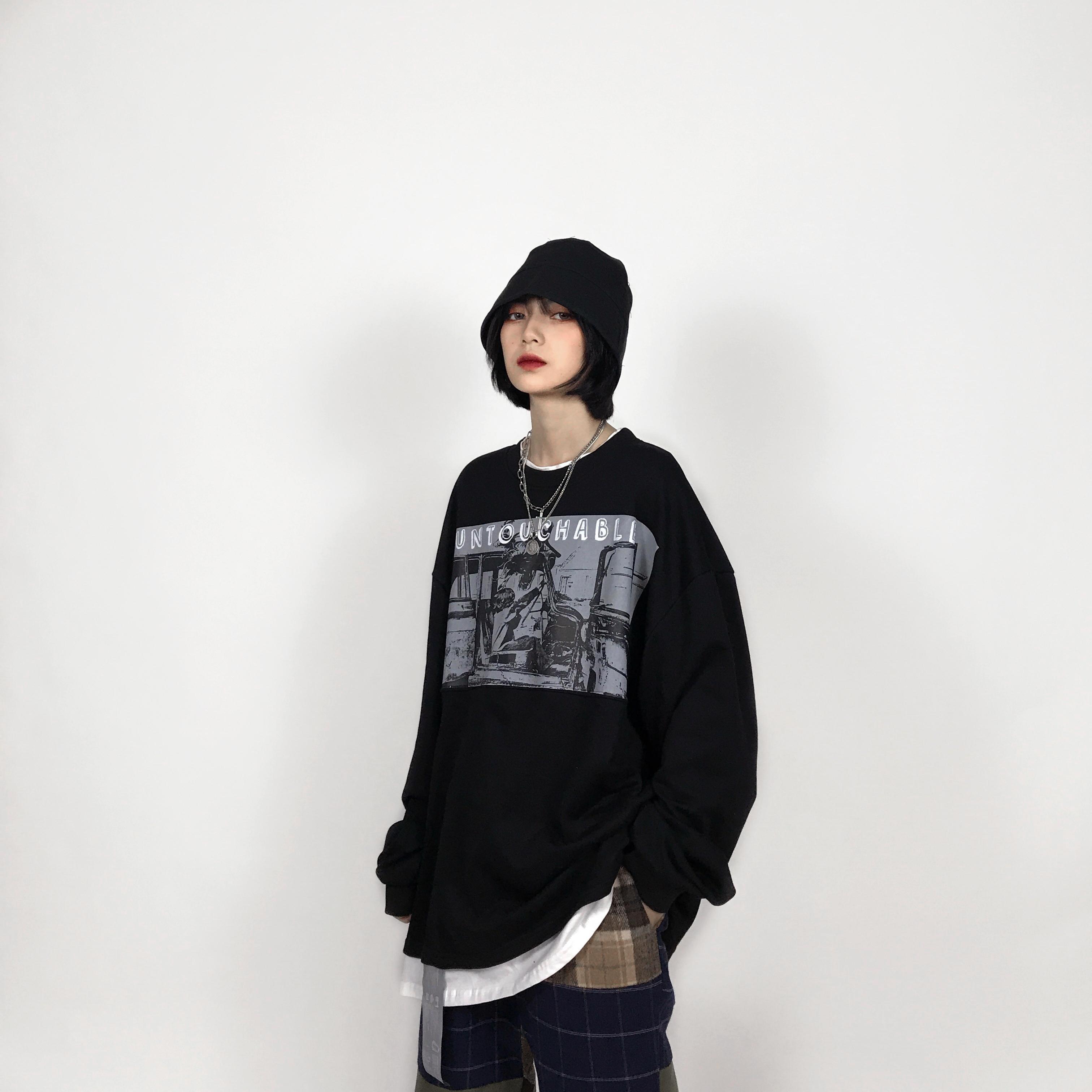 印花卫衣 MX3自制做旧洗水卫衣2020FW复古印花欧美嘻哈街头宽松男女假两件_推荐淘宝好看的女印花卫衣