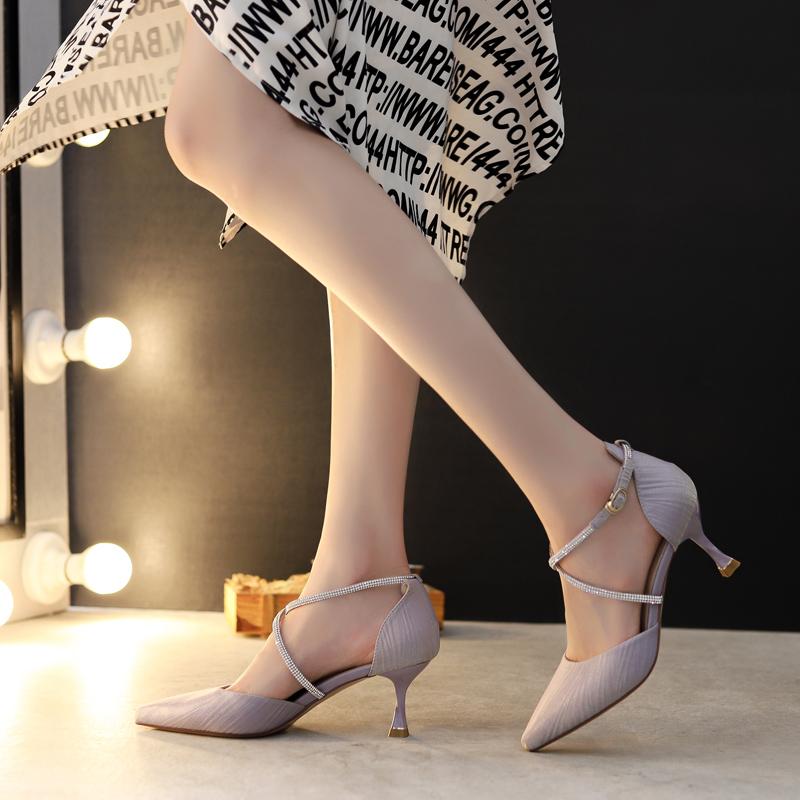 紫色凉鞋 配裙子凉鞋女2020年新款时尚尖头单鞋百搭细跟一字带紫色高跟鞋女_推荐淘宝好看的紫色凉鞋
