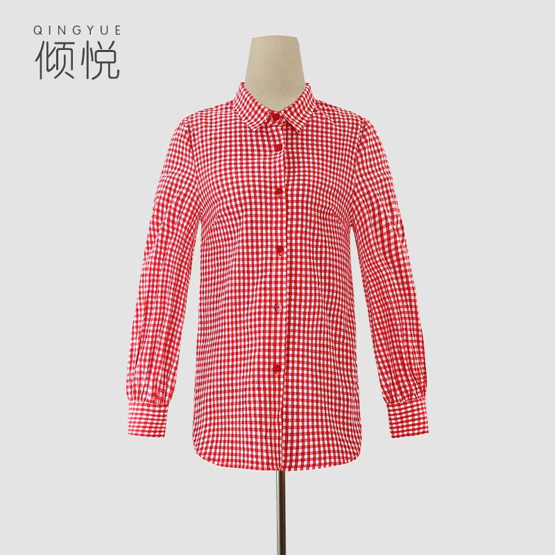 红色格子衬衫 倾悦新款秋冬原创设计上衣棉质女红色格子衬衫_推荐淘宝好看的女红色格子衬衫