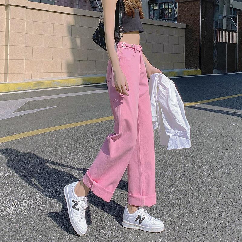 粉红色牛仔裤 hiphop炸街粉红色阔腿牛仔裤女2021年新款春秋宽松直筒粉色潮ins_推荐淘宝好看的粉红色牛仔裤