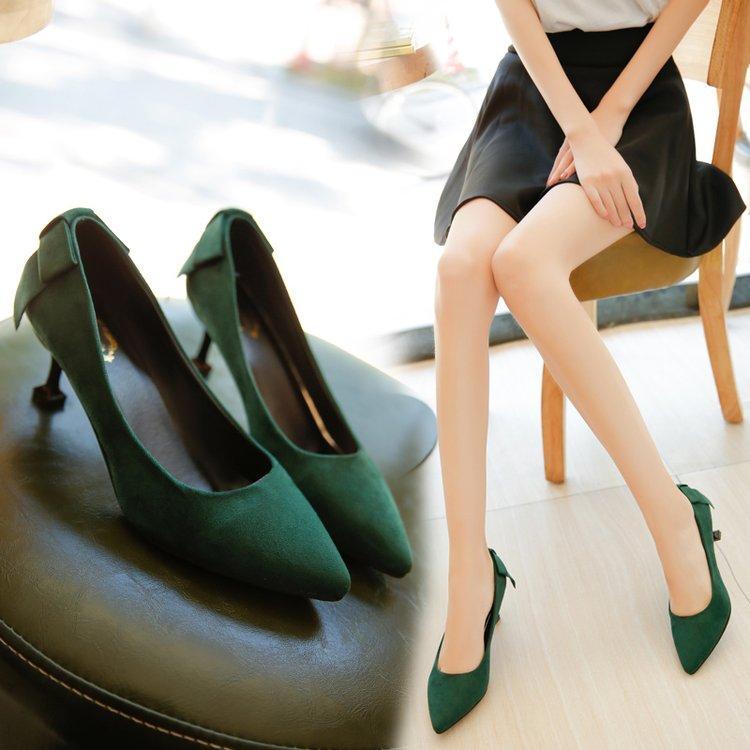 绿色高跟鞋 细跟中跟尖头高跟鞋女韩版春秋新款绒面红色婚鞋墨绿色低跟工作鞋_推荐淘宝好看的绿色高跟鞋