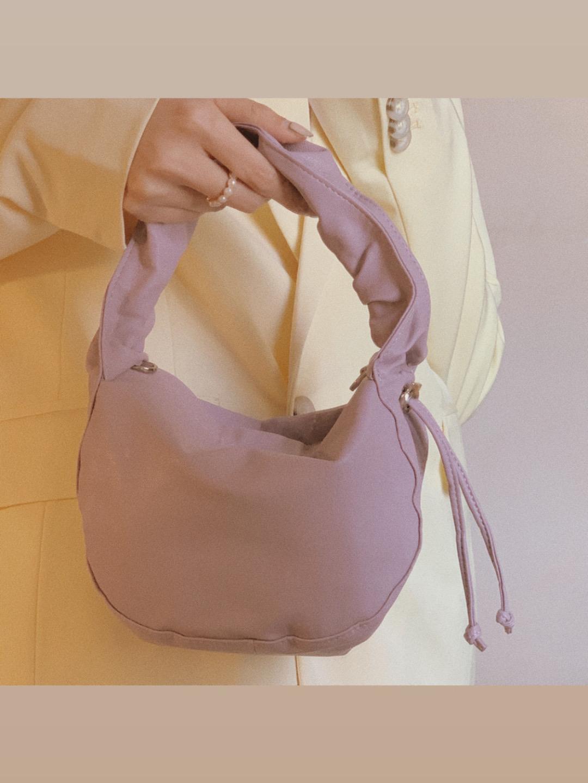 紫色链条包 2020夏季新款 抽绳褶皱手提腋下小包百搭柔软紫色链条斜挎小包包_推荐淘宝好看的紫色链条包