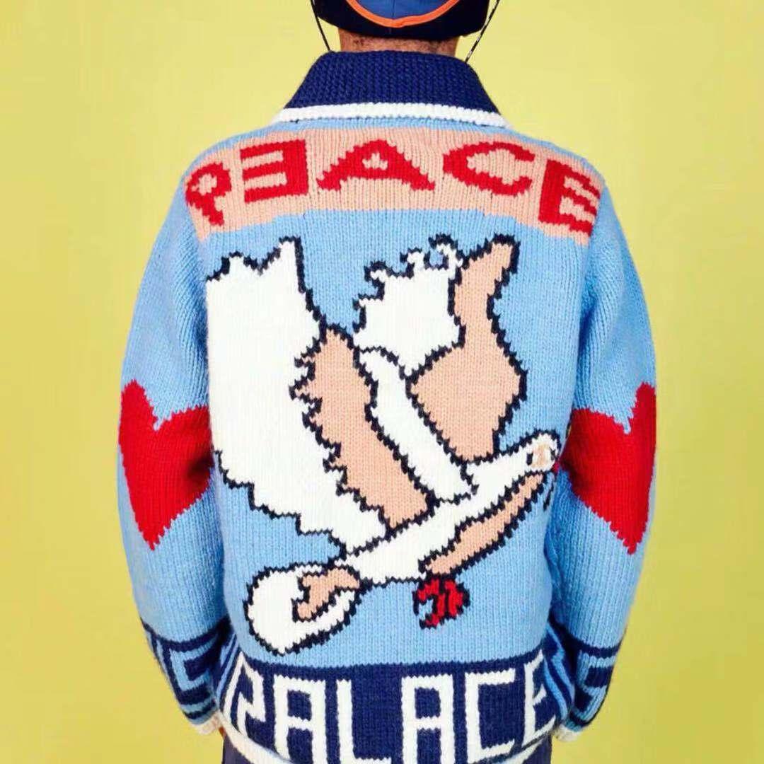 男士毛衣外套 2019Peace Out Knit 18FW Jacket INS针织女开衫外套男毛衣夹克_推荐淘宝好看的男毛衣外套
