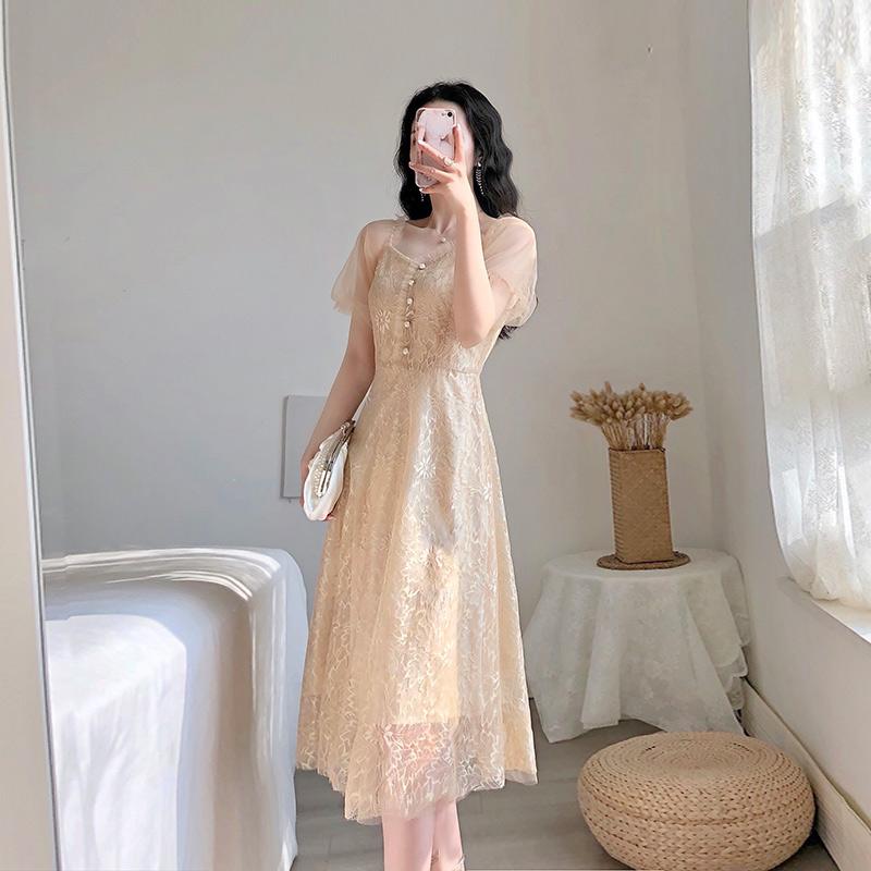 蕾丝连衣裙 经典款 卡所2020夏季新款流行裙子法式复古气质温柔仙女礼服蕾丝连衣裙_推荐淘宝好看的蕾丝连衣裙