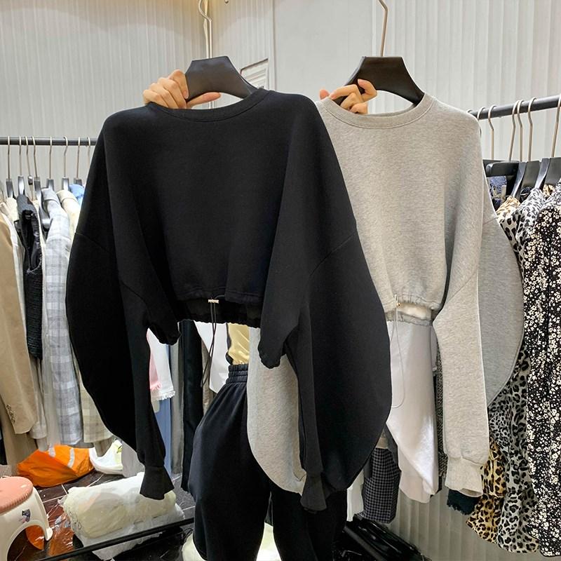女士套头卫衣 2021春季慵懒风抽绳套头蝙蝠袖薄款宽松短款无帽圆领女士白色卫衣_推荐淘宝好看的女士套头卫衣