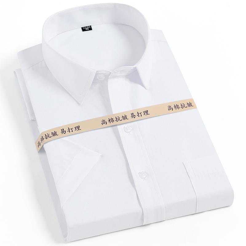 白色衬衫 雅致鸟衬衫袖短白色商务正装新品2019 夏 装修身款上班男士衬包邮_推荐淘宝好看的白色衬衫