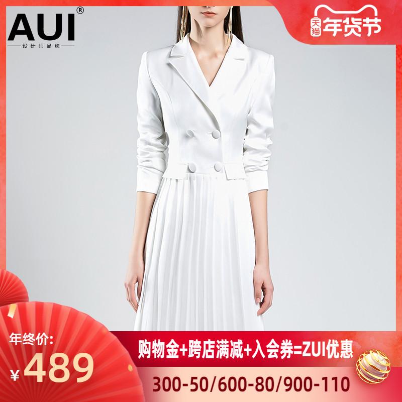 白色连衣裙 欧洲站气质女神范白色西装裙收腰百褶连衣裙女2020年春装新款女装_推荐淘宝好看的白色连衣裙