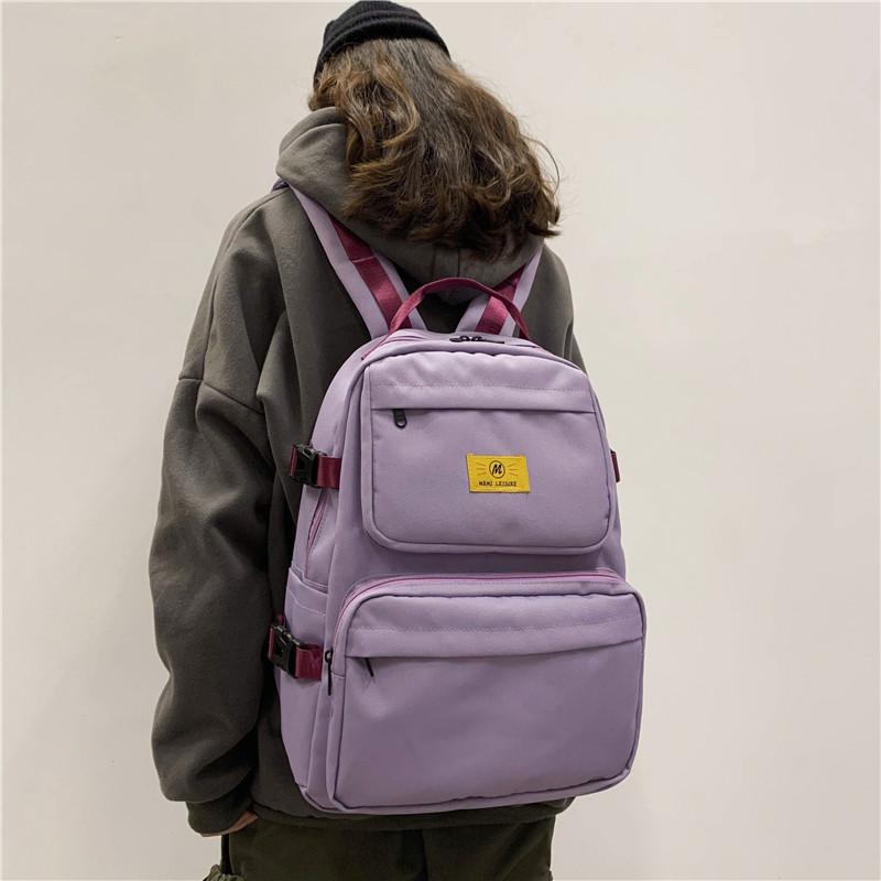 紫色双肩包 双肩包女大学生简约百搭2020年新款工装风背包大容量紫色ins书包_推荐淘宝好看的紫色双肩包