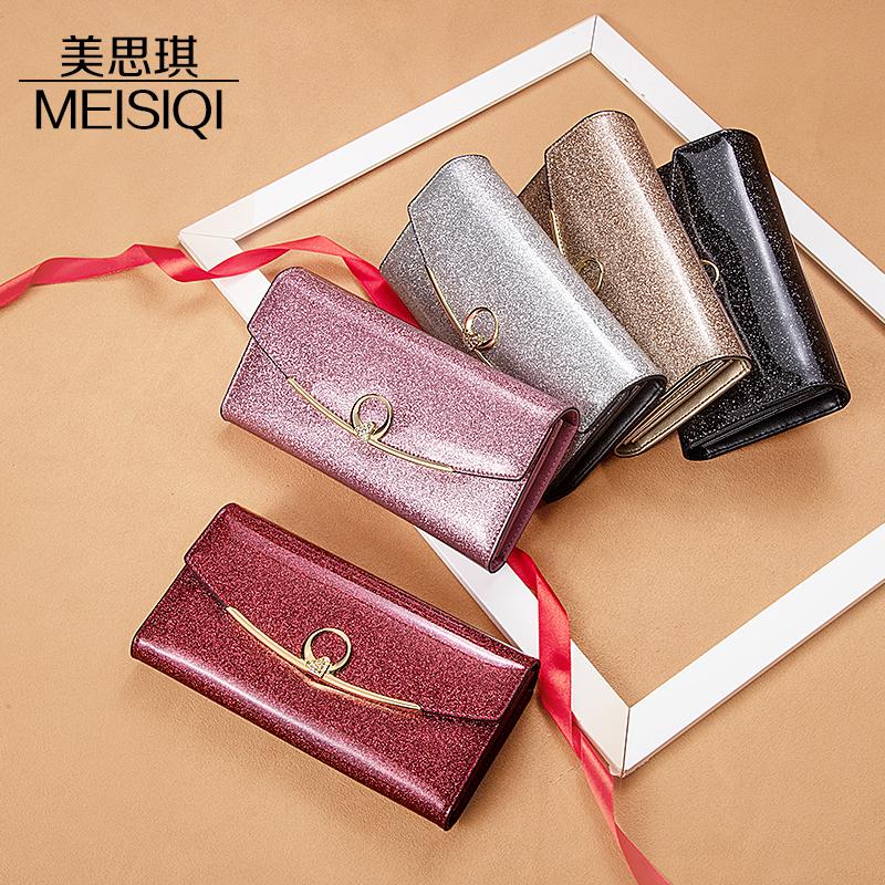 粉红色钱包 手机包真皮女士钱包长款精致高档时尚大容量多卡位漆皮卡包三折包_推荐淘宝好看的粉红色钱包