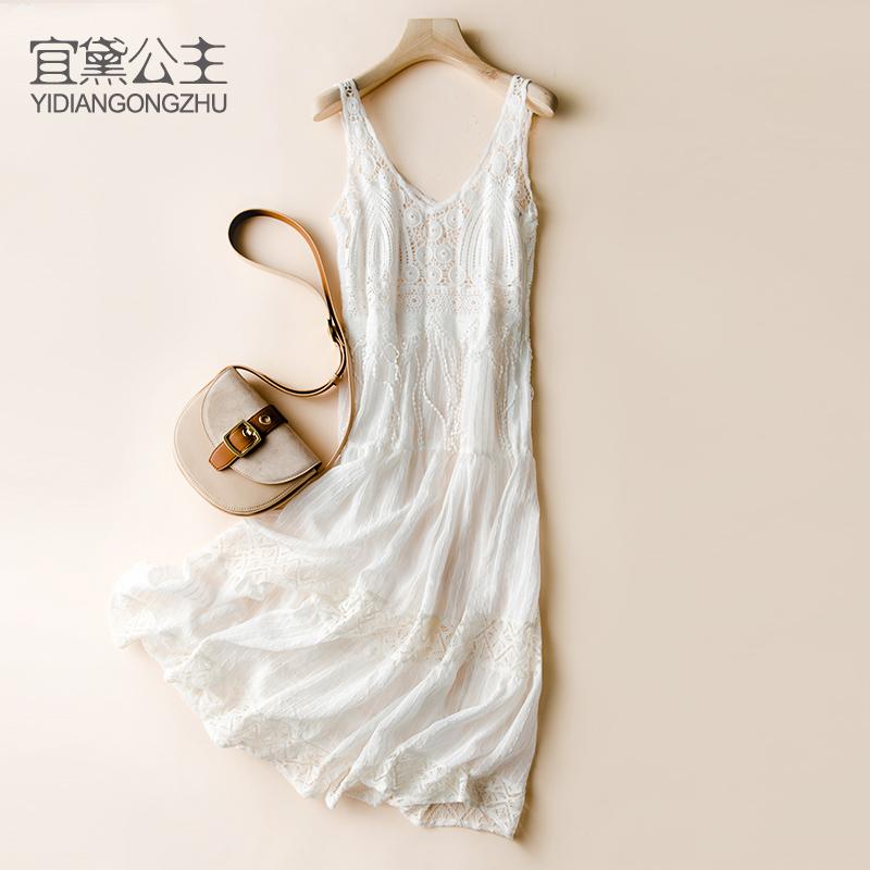 白色吊带连衣裙 泰国巴厘岛沙滩裙海边度假长裙两件套吊带裙很仙的白色蕾丝连衣裙_推荐淘宝好看的白色吊带连衣裙