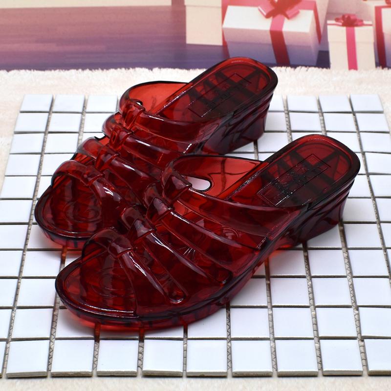 水晶坡跟鞋 女士拖鞋水晶鞋坡跟女夏季防滑坡跟厚底外穿高跟塑料沙滩鞋凉拖鞋_推荐淘宝好看的水晶坡跟鞋