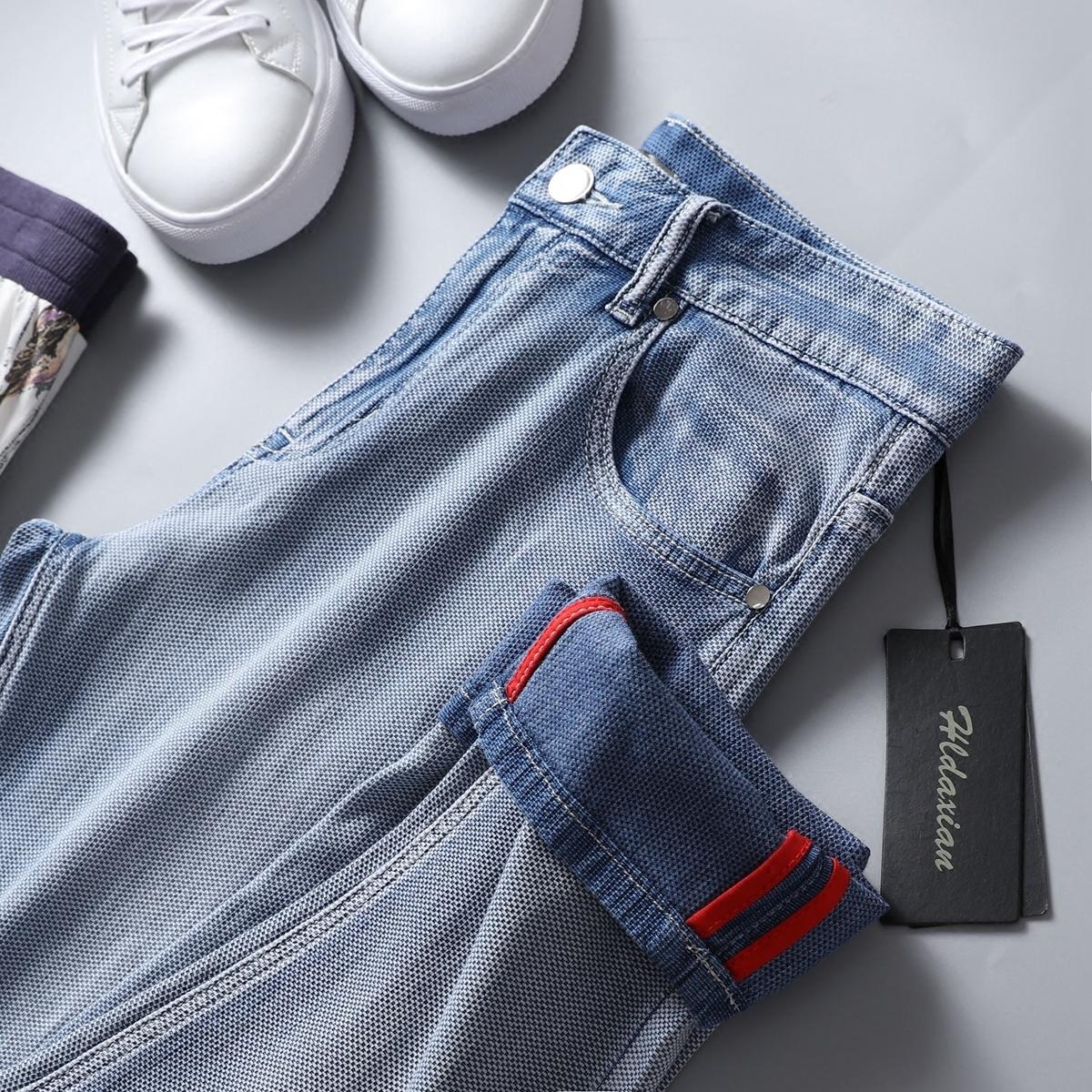 男士浅蓝色牛仔裤 让你舒适的一塌糊涂 夏季浅蓝色水洗修身休闲 小直筒牛仔裤男裤_推荐淘宝好看的男浅蓝色牛仔裤