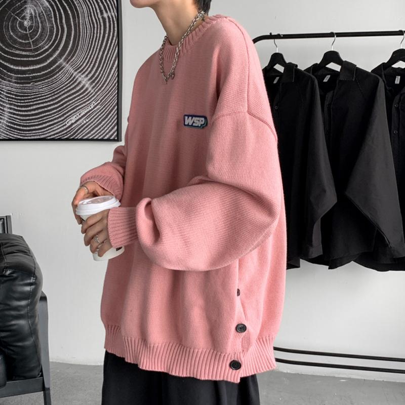 粉红色针织衫 粉红色排扣开叉毛衣男秋冬大码宽松套头针织衫慵懒风oversize外套_推荐淘宝好看的粉红色针织衫