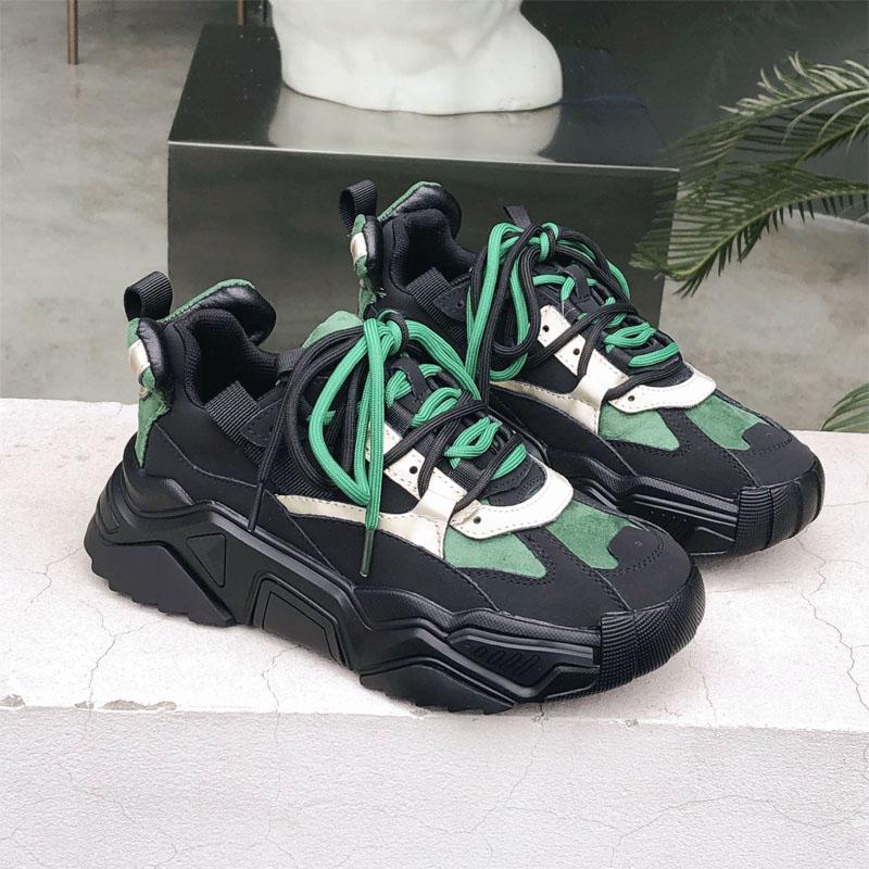 绿色平底鞋 春季黑色老爹鞋女2020新款绿色拼色真皮平底板鞋百搭厚底运动单鞋_推荐淘宝好看的绿色平底鞋