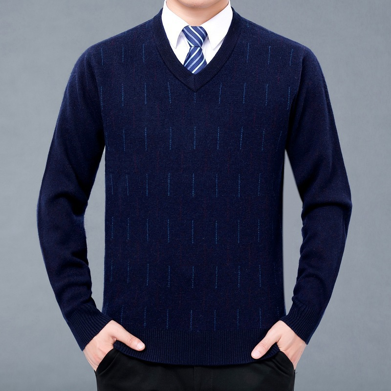 男士V领针织衫 新款 2020冬男士v领圆领羊绒衫毛衣针织羊加厚款大码纯色毛衫_推荐淘宝好看的男V领针织衫