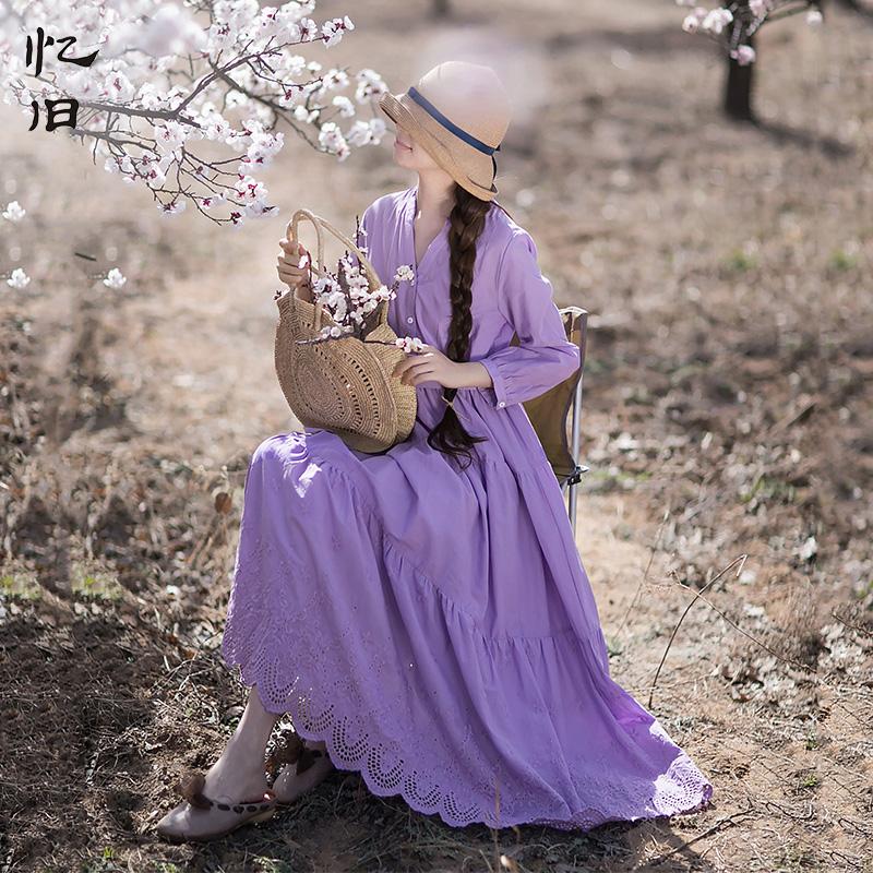 紫色连衣裙 忆旧秋装纯棉绣花长裙2021年新款气质蛋糕裙 V领紫色连衣裙女早秋_推荐淘宝好看的紫色连衣裙