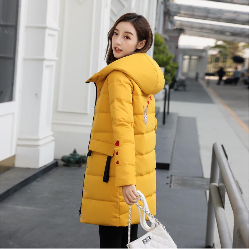 黄色羽绒服 羽绒服女中长款加厚2020新款韩版黄色修身反季节小个子刺绣外套冬_推荐淘宝好看的黄色羽绒服
