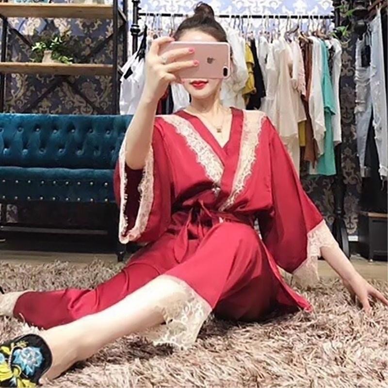 睡袍 红色本命年睡衣女睡袍春夏季薄款丝绸性感蕾丝新娘晨袍睡裙三件套_推荐淘宝好看的睡袍