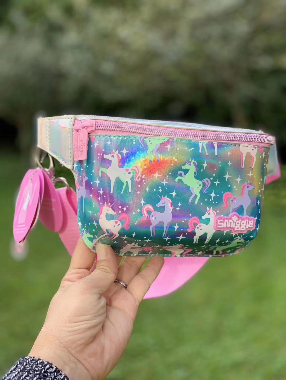 紫色贝壳包 现货澳洲smiggle紫色贝壳粉色独角兽拉链印花儿童卡通斜挎包腰包_推荐淘宝好看的紫色贝壳包