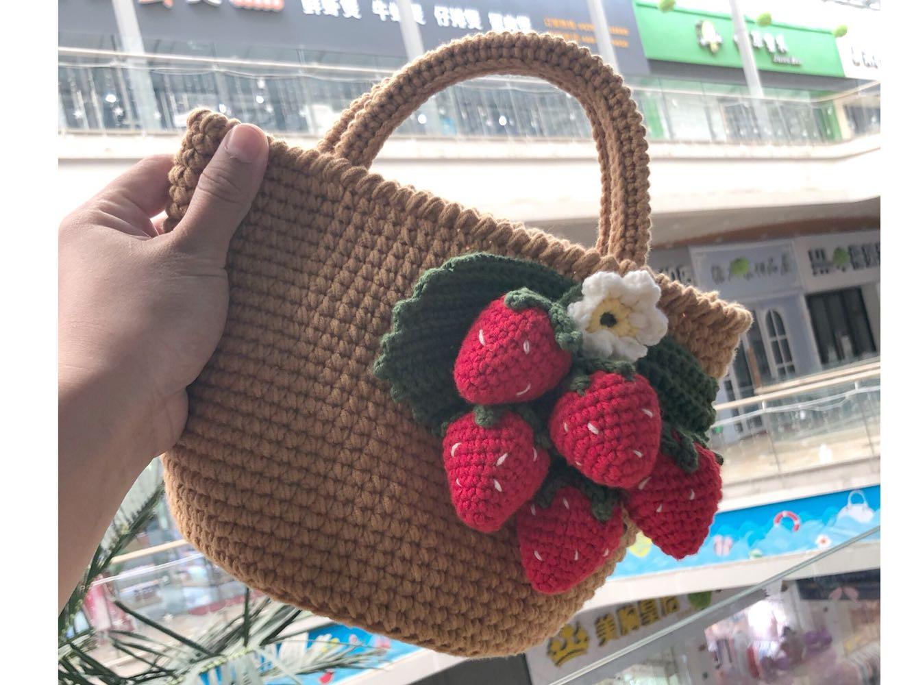 diy手提包 米粒麻麻手工草莓包泫雅钩针diy毛线草莓编织手提材料包非成品_推荐淘宝好看的diy手提包