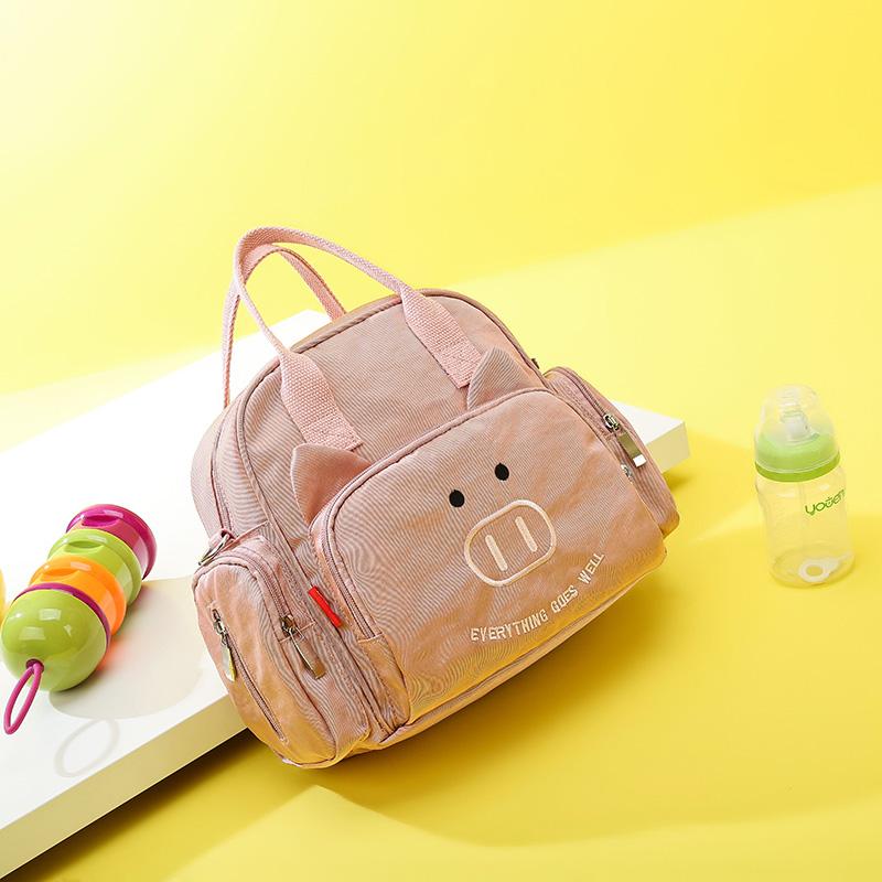 粉红色手提包 时尚妈咪包2020新款多功能斜挎小号外出手提单肩轻便母婴包双肩女_推荐淘宝好看的粉红色手提包