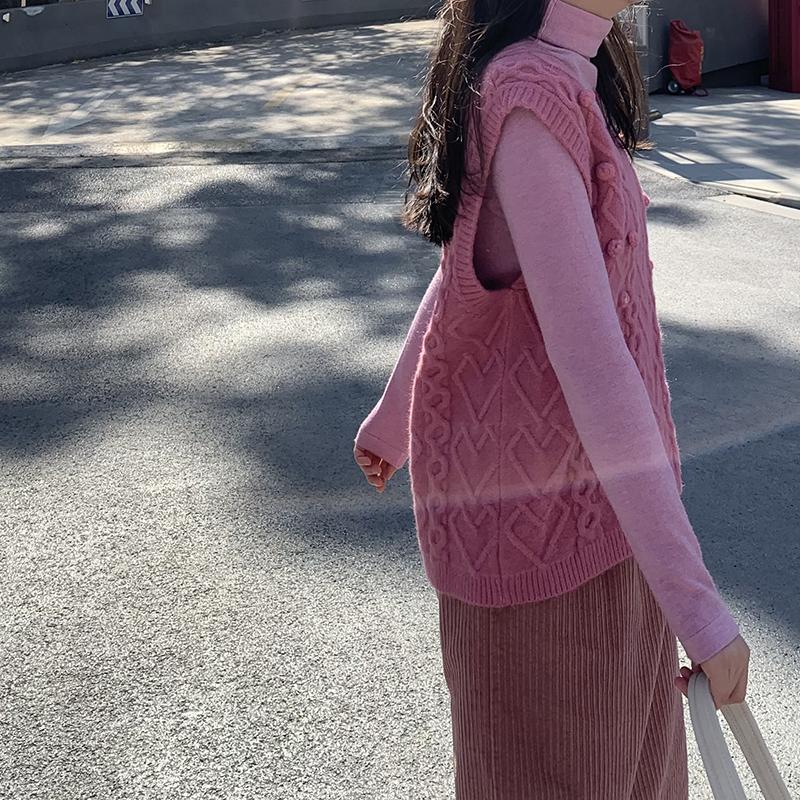粉红色马甲 日立和芋头粉红色v领马甲背心无袖毛衣针织衫秋冬新款女宽松上衣_推荐淘宝好看的粉红色马甲