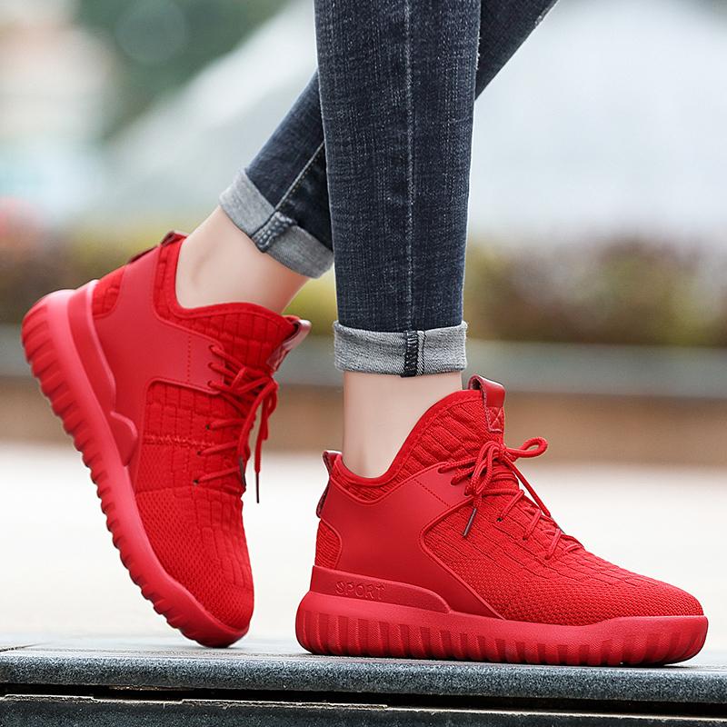 红色运动鞋 红色运动鞋女大红色冬季加绒休闲鞋2020年新款百搭轻便平底跑步鞋_推荐淘宝好看的红色运动鞋
