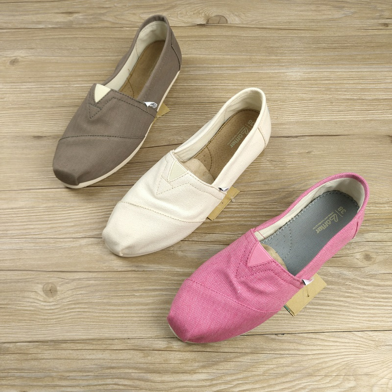 平底鞋 春夏季纯色帆布鞋一脚蹬懒人鞋平底浅口轻便休闲女鞋_推荐淘宝好看的女平底鞋