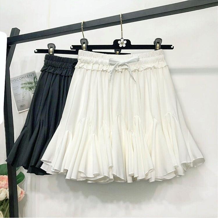 白色半身裙 夏季新款防走光白色半身裙女高腰时尚黑色百褶短裙雪纺a字蓬蓬裙_推荐淘宝好看的白色半身裙