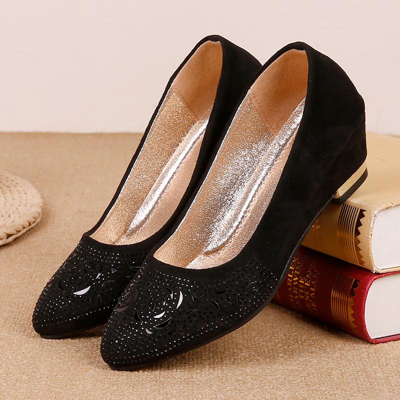 水钻坡跟鞋 春秋新款老北京布鞋中跟舒适工作女鞋水钻时尚坡跟女单鞋时装鞋_推荐淘宝好看的水钻坡跟鞋