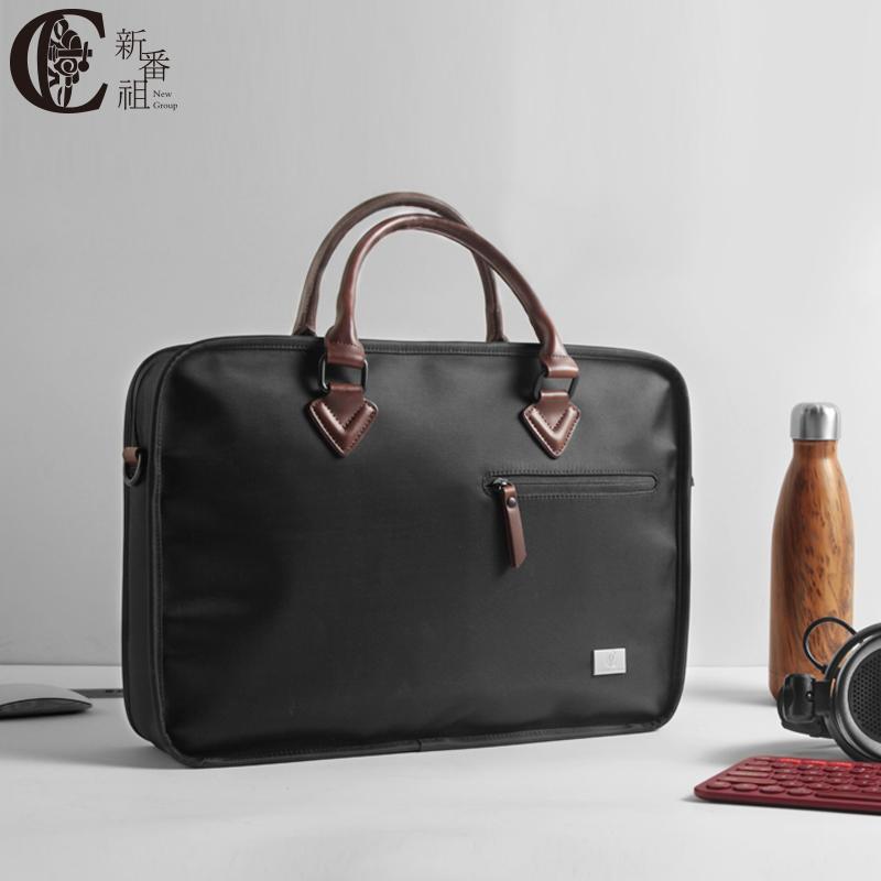 黑色帆布包 男包手提包简约休闲商务大容量拉链帆布电脑黑色15.6寸文件公文包_推荐淘宝好看的黑色帆布包