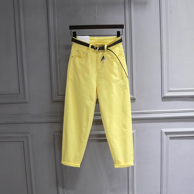 黄色牛仔裤 黄色牛仔休闲裤女2021春季欧货简约时尚老爹裤宽松显瘦九分哈伦裤_推荐淘宝好看的黄色牛仔裤