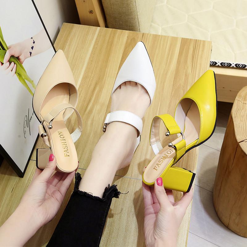 黄色凉鞋 2020春夏新款时尚尖头黄色粗跟高跟鞋女潮舒适一字扣带英伦风凉鞋_推荐淘宝好看的黄色凉鞋
