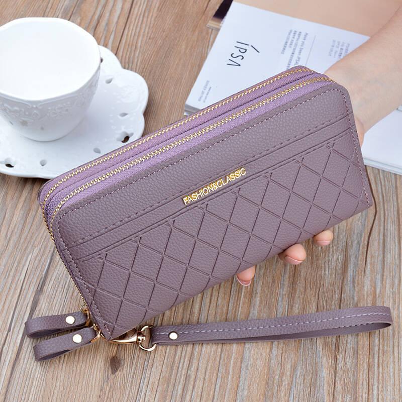 紫色手拿包 书果儿(SHUGUOER)新款双拉链手拿钱包女士钱包长款时尚大容量紫色_推荐淘宝好看的紫色手拿包