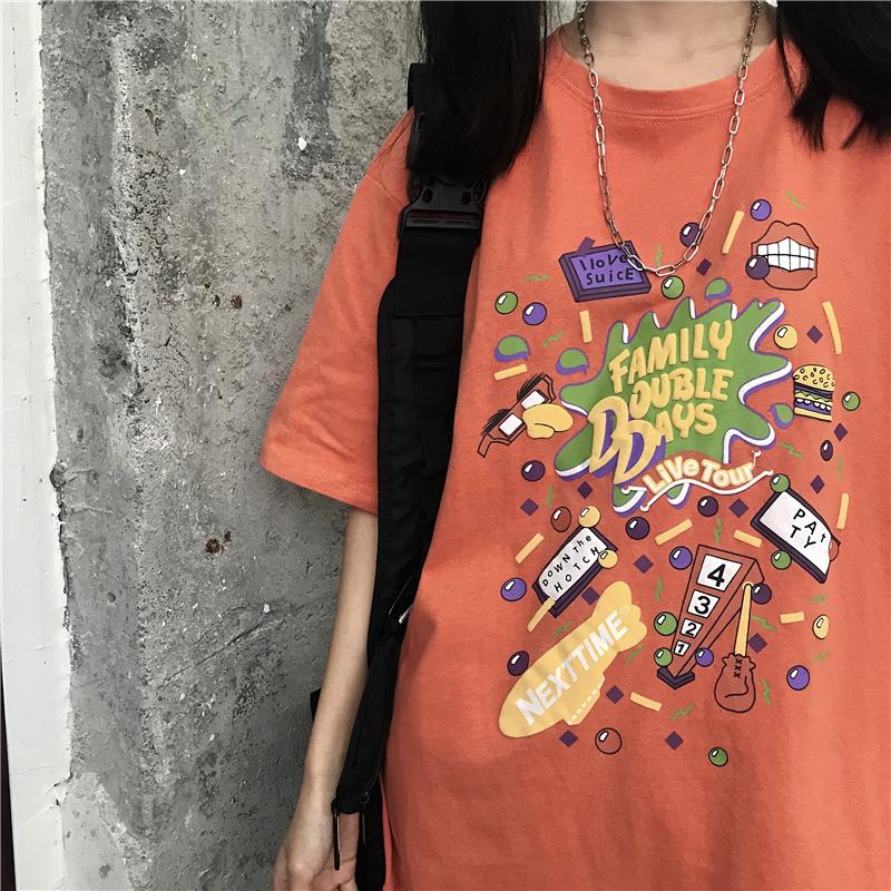 韩版手绘t恤 港风chic手绘涂鸦短袖t恤女2020韩版宽松半袖体恤嘻哈怪味上衣服_推荐淘宝好看的女韩版手绘t恤