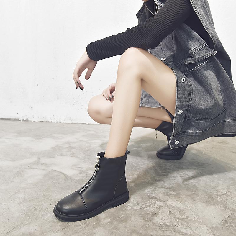 短靴 短靴女潮帅气马丁靴子女英伦风2020新款百搭拉链瘦瘦切尔西靴黑色_推荐淘宝好看的女短靴