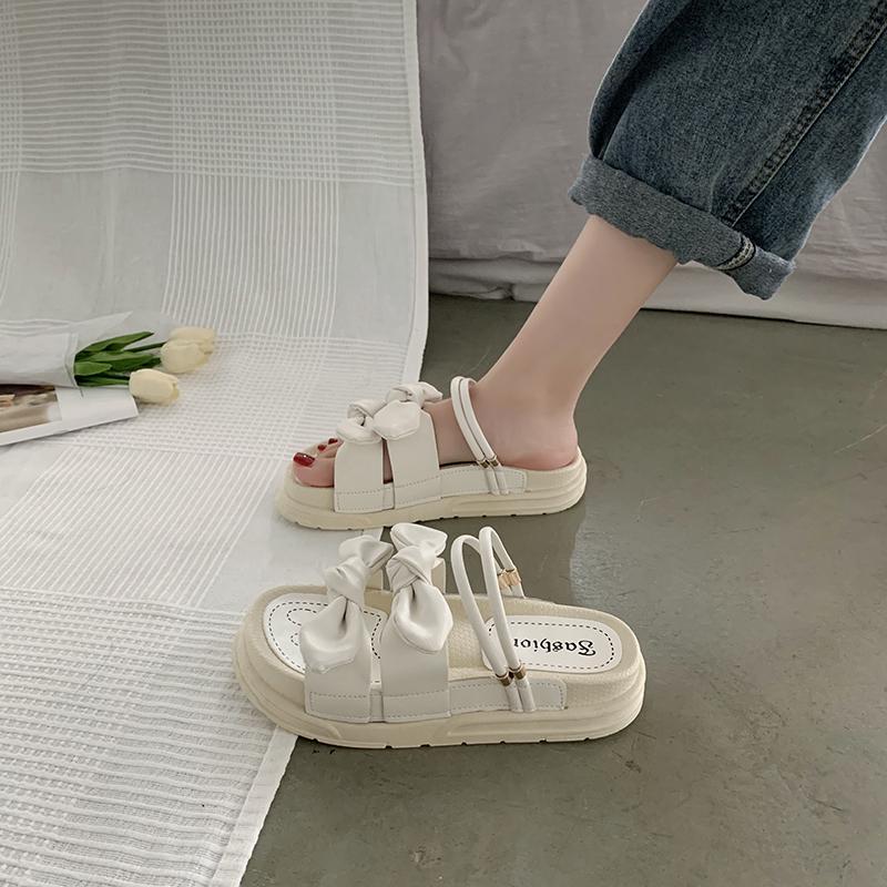 女式松糕鞋 凉鞋女仙女风2021年新款夏天学生罗马厚底松糕网红凉拖ins潮超火_推荐淘宝好看的女松糕鞋