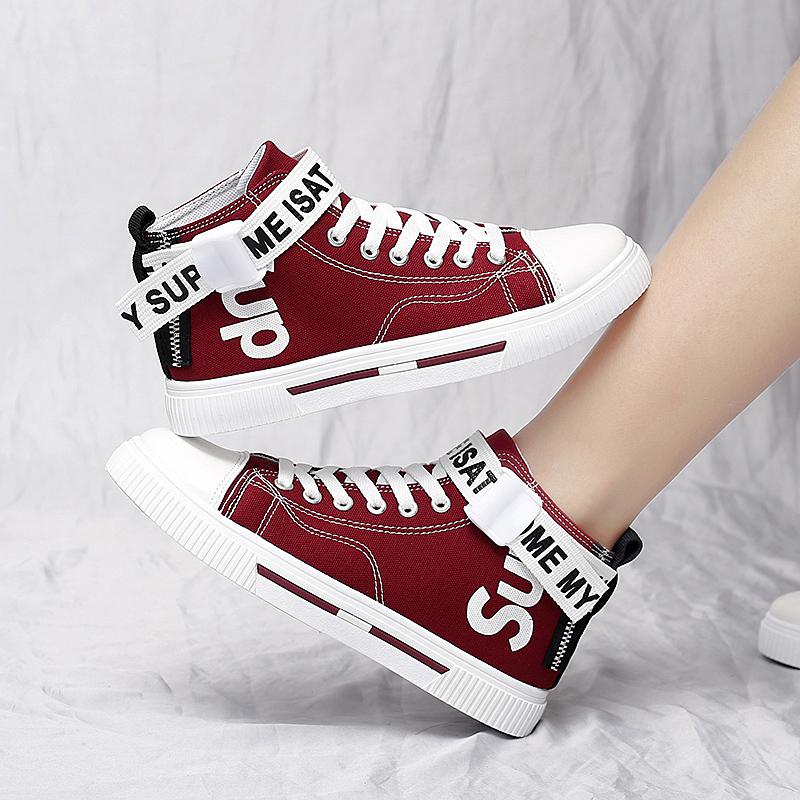 红色运动鞋 2021红鞋布鞋夏季新款初中学生红色鞋子女运动板鞋秋季高帮帆布鞋_推荐淘宝好看的红色运动鞋