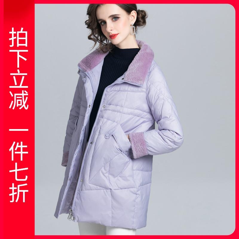 紫色羽绒服 紫色羽绒服女中长款2021冬新款品牌时尚修身小个子拼接白鸭绒外套_推荐淘宝好看的紫色羽绒服