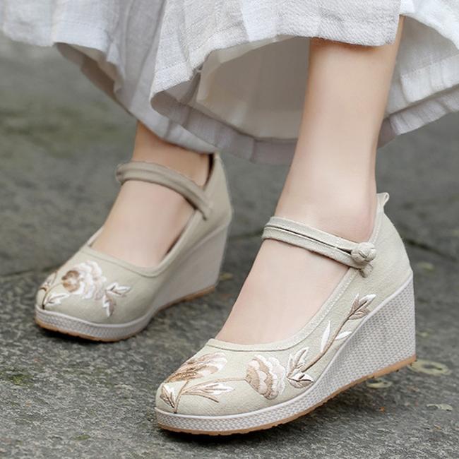 坡跟鞋 2020新款淡雅汉服鞋子增高绣花鞋古风布鞋舒适高坡跟单鞋茶艺鞋女_推荐淘宝好看的女坡跟鞋