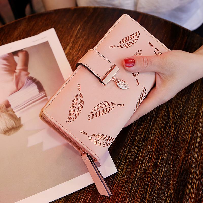 韩版手拿包 2020年新款韩版女士网红长款时尚手拿包镂空树叶拉链搭扣钱包卡包_推荐淘宝好看的女韩版手拿包